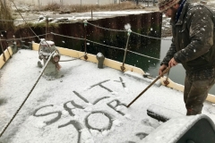 Excelsior's skipper Gavin getting snowy!