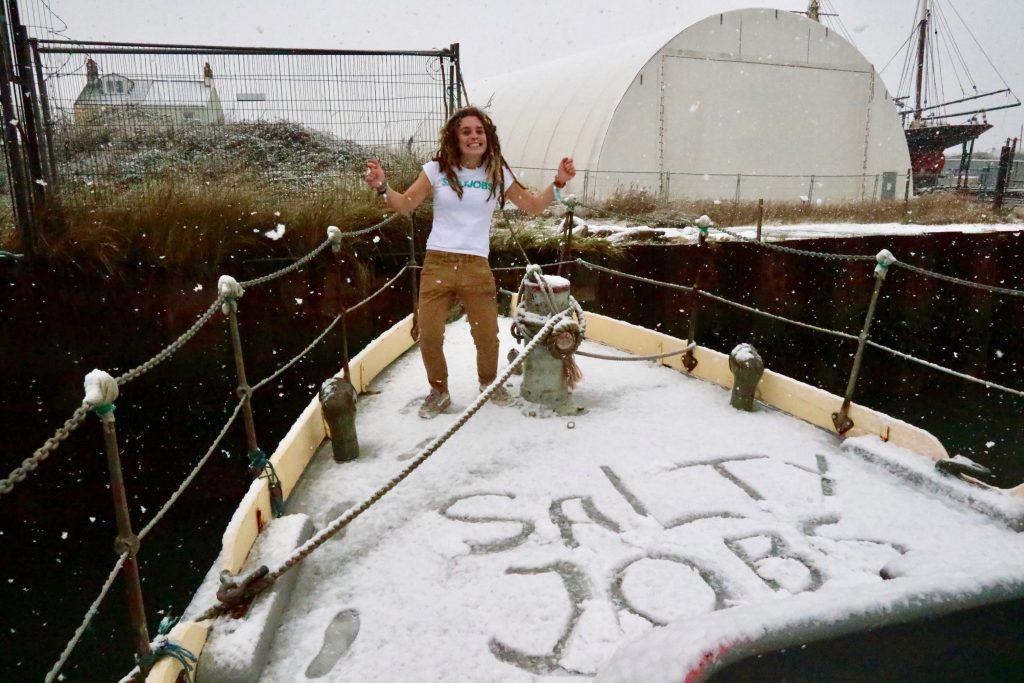Old-Lifeboat-foredeck-snow-Eleanor-SaltyJobs